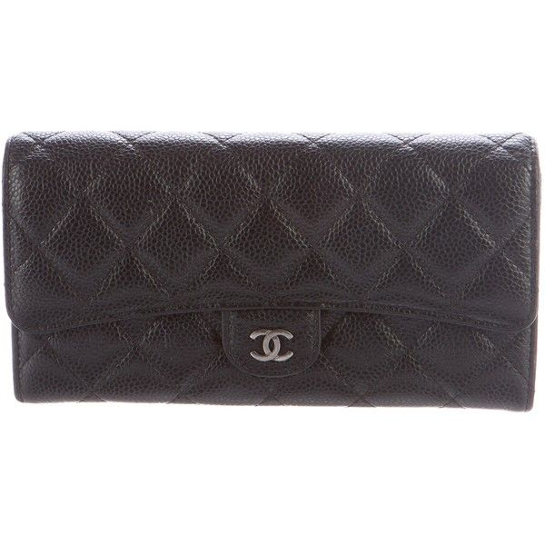 Pre-owned Chanel Caviar Classic Flap Wallet ($875) ❤ liked on Polyvore featuring bags, wallets, black, flap wallet, snap closure wallet, real leather wallets, leather bags and chanel