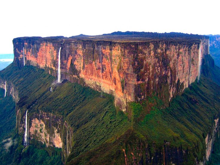 Mount Roraima, Guyana/Brazil/Venezuela. South America's answer to Uluru, this impressive sandstone plateau is surrounded on all sides by 400-meter cliffs, creating an isolated and unique ecosystem.