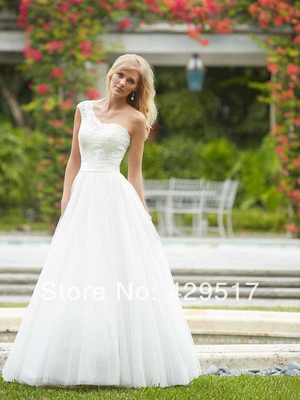 New  Sexy  Simple  Cheap  One-Shoulder  White  debutante  gowns  A-line  Floor length  Organza  Wedding  Dress $144.00