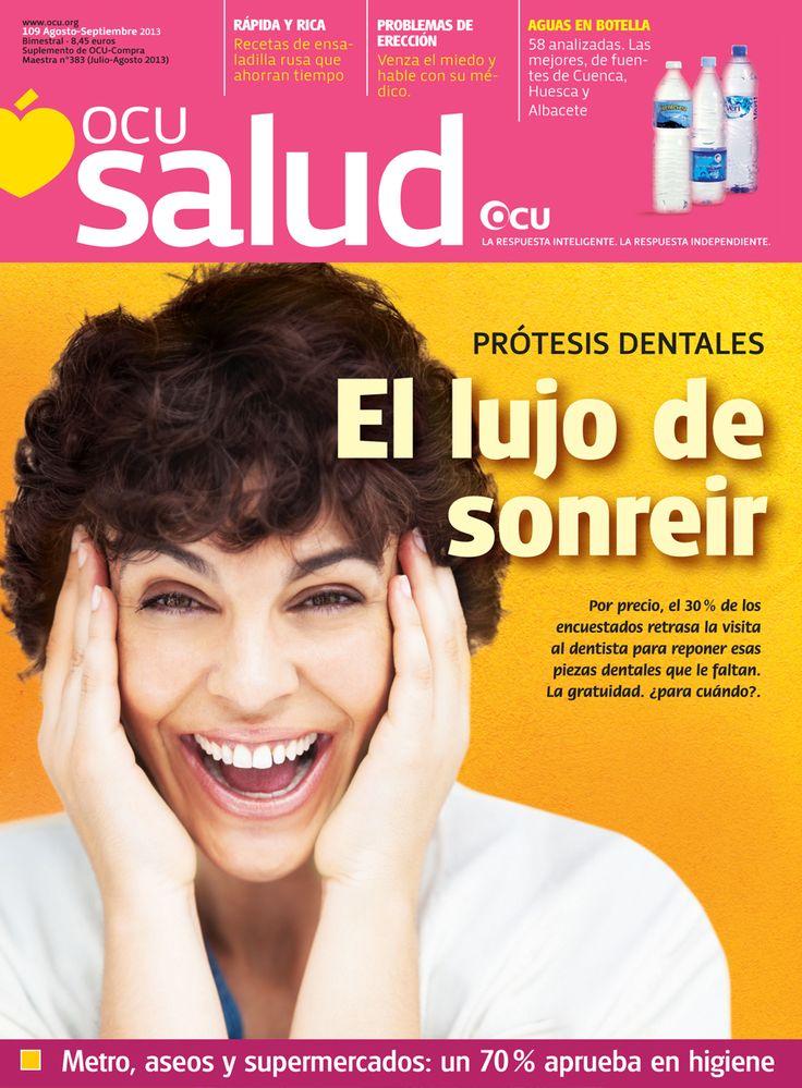 OCU Salud nº109 (agosto 2013): prótesis dentales, agua mineral, hierba de San Juan, contaminación por bacterias, disfunción eréctil, enfermedades del páncreas...