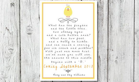 Pregnancy Announcements Yellow Baby Riddle Poem