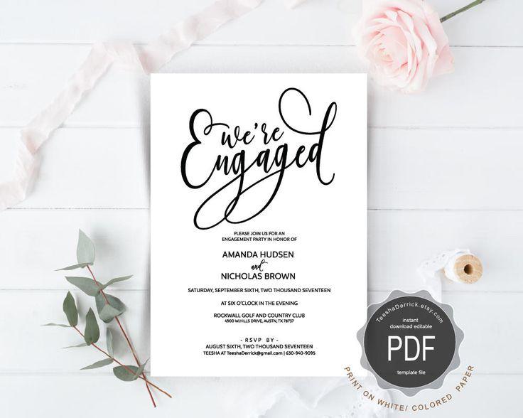 194 best Wedding Invitation images on Pinterest - engagement invitation cards templates