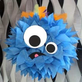 Turn your Halloween party into a monster mash with these fun, easy-to-make pom-poms.