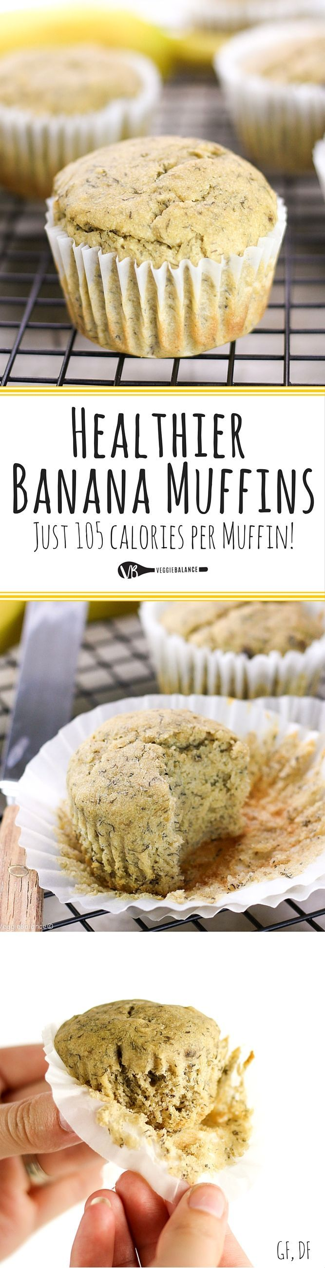 Gluten-Free Banana Muffins recipe made healthy and so easy to whip up on a Saturday morning. Low-Sugar, Gluten-Free, Dairy-Free and Only 105 calories per muffin! #BreakfastWin