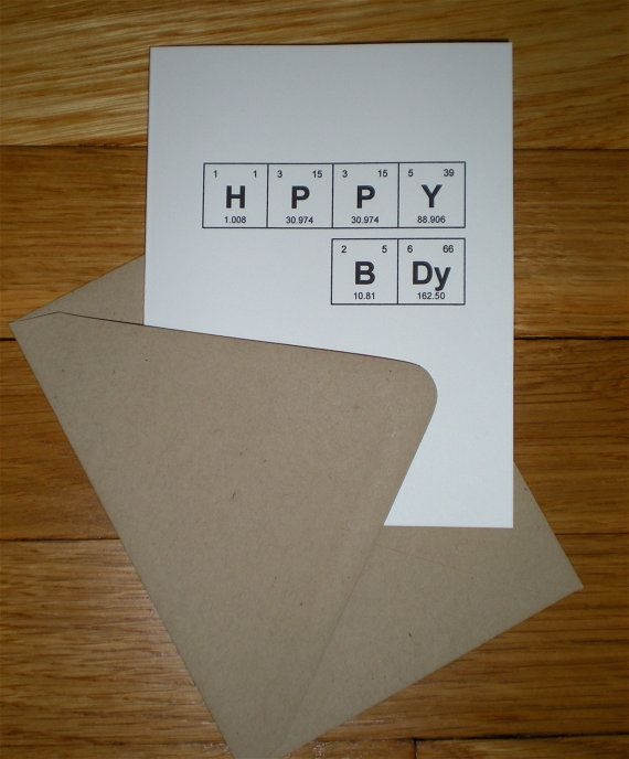 "Periodic Table of the Elements ""HPPY BDy"" Happy Birthday Card, 100% recycled, eco friendly"