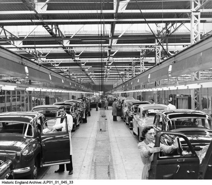 JLP01/01/045/33    Interior view of Rover factory showing workers polishing cars.  Rover Car Company Works, Lode Lane, Solihull. Date: 25 OCT 1956.  Please click for more information or to search our collections.