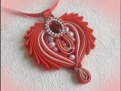 "DIY Medallion""Heart"",pendant,bias tape/Кулон из бейки ""Сердце"", своими…"