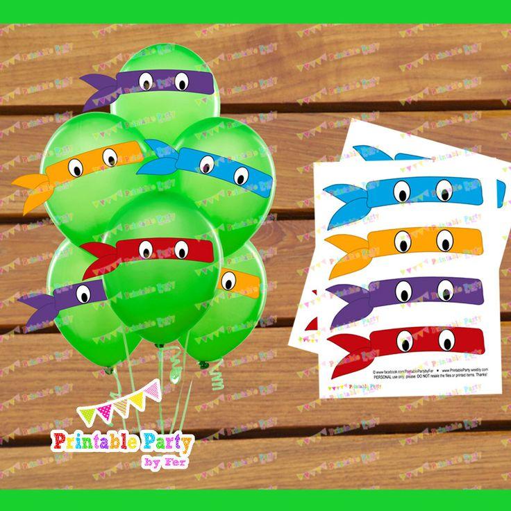 DIGITAL PRINTABLE ninja turtles mask eyes birthday party decoration supplies balloon stickers.
