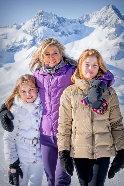 Queen Maxima of the Netherlands attends a photocall during a skiing trip on February 26, 2018 in Lech, Austria. Queen Maxima of the N...