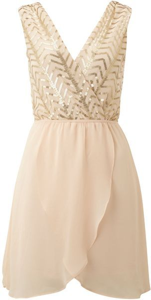 A sweet holiday dress. Sequin Top with Cross Over Chiffon Skirt