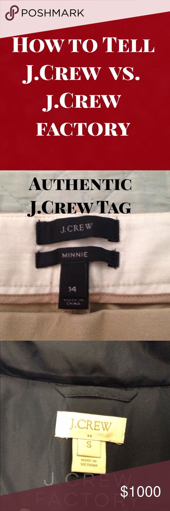 J.Crew vs. J.Crew Factory I have been seeing tons of Factory items being tagged as being J.Crew so I wanted to make this guide so people can see how easy it is to tell them apart! 1. J.Crew Factory has two dots underneath J.Crew as seen with the pictures and J.Crew doesn't! This also works with Ann Taylor LOFT and Banana Republic! J. Crew Other