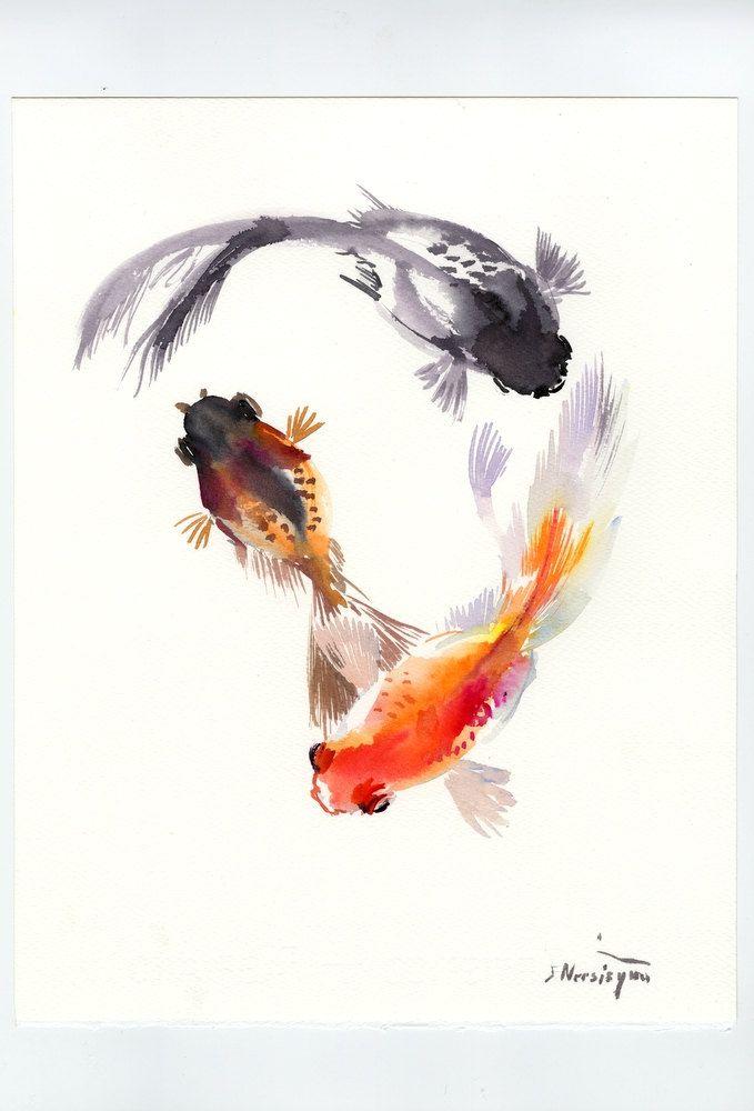 Three Goldfish, Koi, Feng Shui zen brush original watercolor painting by ORIGINALONLY on Etsy