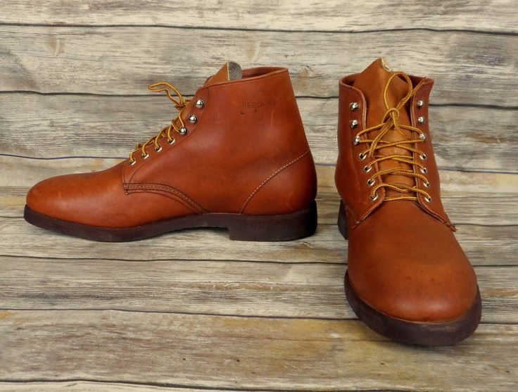 Vintage Red Wing Boots Lace Up Brown Leather Mens Size 13 D Ankle Work NOS Shoes #RedWingShoes