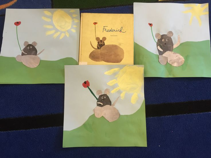 "Inspired the book ""Frederick,"" first graders got a value lesson on mixing light and dark grays.  During the next lesson, they created a landscape background with construction paper and collaged their painted papers to create a mouse.  The third and final lesson, they painted a sun, and used markers to create details.  The eyes were painted with white out"