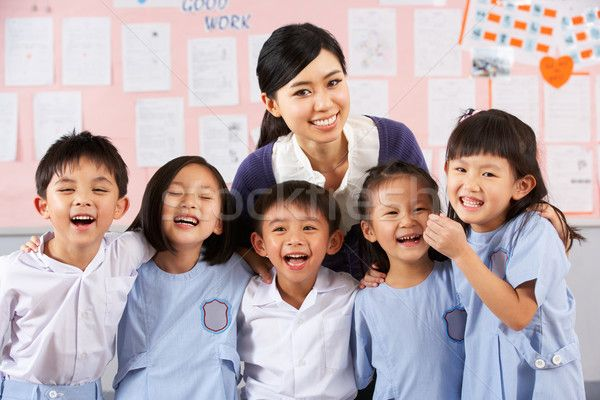 Portait Of Teacher And Students In Chinese School Classroom stock photo (c) monkey_business (#4348279) | Stockfresh