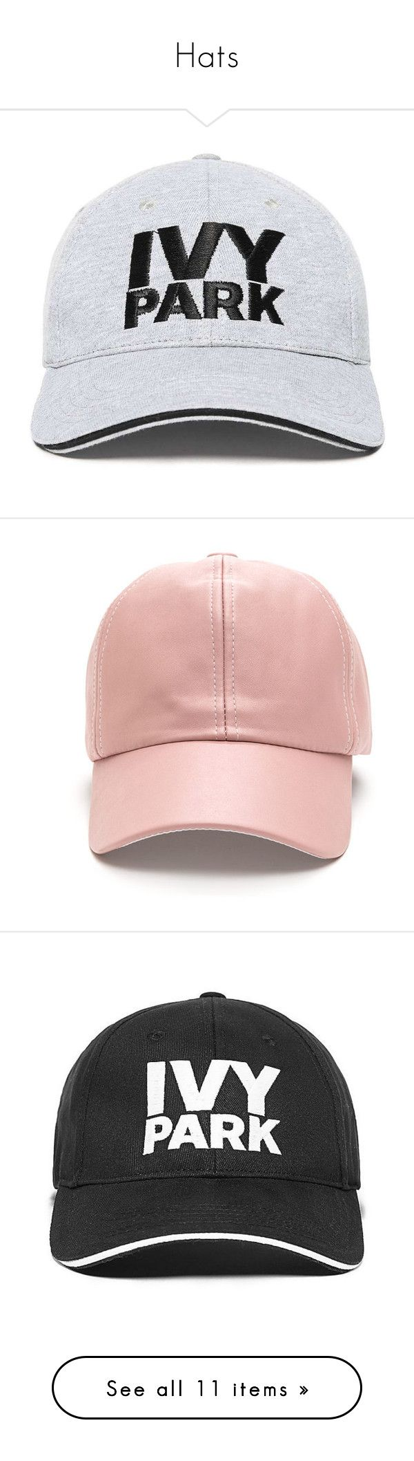 """""""Hats"""" by mikaria-fashion ❤ liked on Polyvore featuring accessories, hats, headwear, ivy park, embroidered hats, embroidered baseball hats, embroidered ball caps, sun visor hat, visor hats and head"""