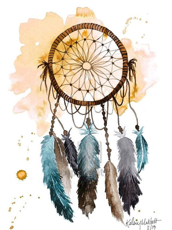 Dream Catcher Print of Original Watercolor por KelseyMDesigns