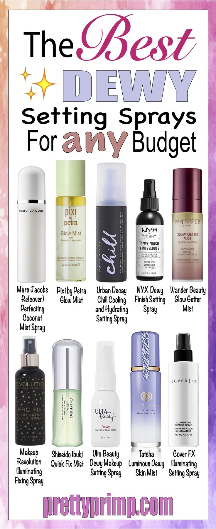 The best dewy setting sprays from drugstore brands like NYX and Pixi to luxury brands like Tatcha and Urban Decay! #makeuplover #makeupartist #beautytips #beautyblogger #urbandecay #nyxprofessionalmakeup #marcjacobs