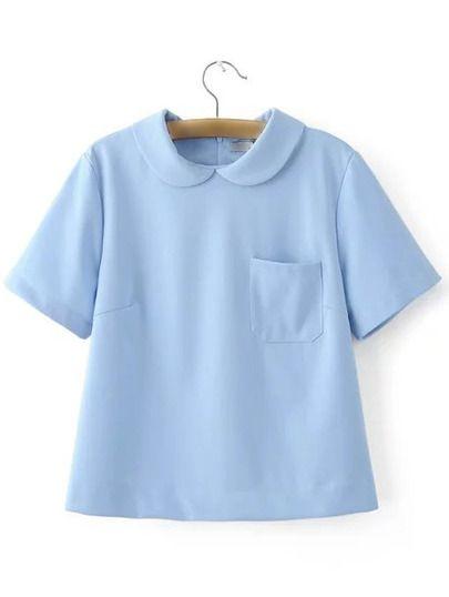 Blue Peter Pan Collar Zipper Back Short Sleeve Blouse.