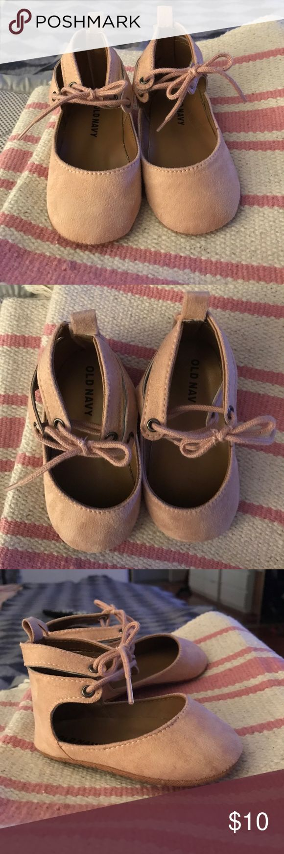 Old Navy girl shoes Ballerina Pink, faux lace up, Velcro back slipper shoes. Size 12-18 months. NWOT, never been worn. Old Navy Shoes Baby & Walker