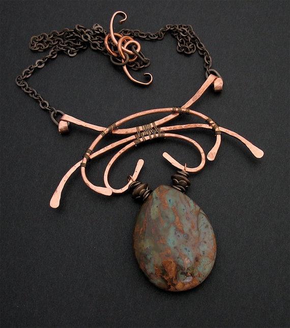 Wire Wrapped Copper, Brass, Stone Pendant Necklace by LoneRockJewelry