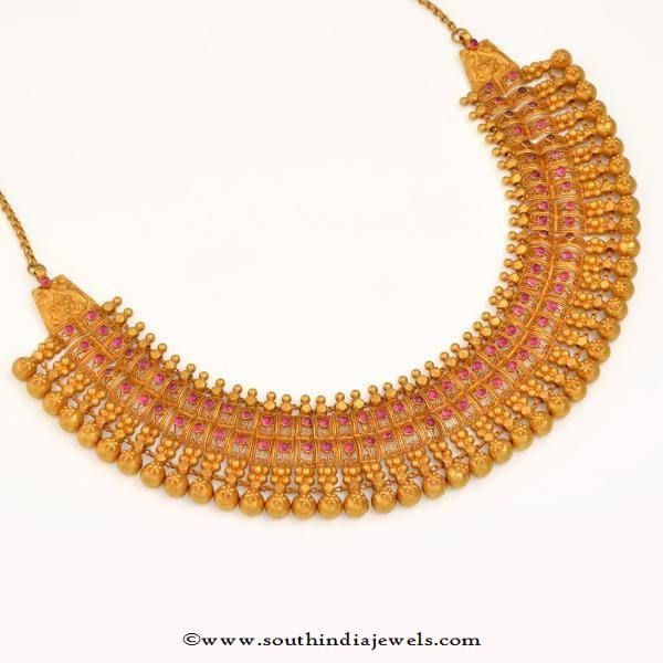 Gold Choker Necklace Designs, Gold Choker Collections, Gold Ruby Choker Necklace…