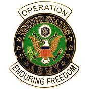 US Army Operation Enduring Freedom Hat Pin US Army Operation Enduring Freedom Hat Pin [EE-P62964] - $4.00 : Hat n Patch, Military Hats, Patches, Pins and more