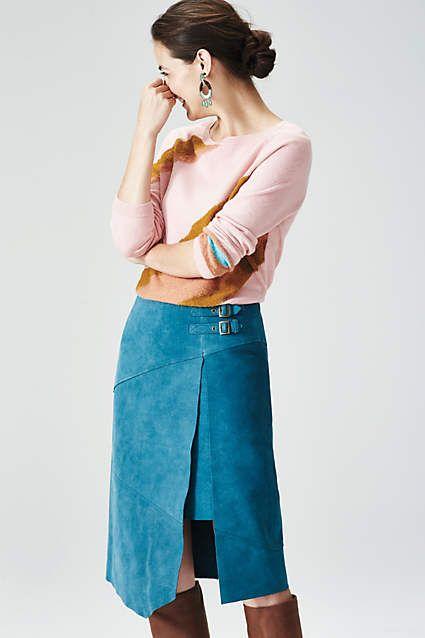 Pieced Suede Skirt