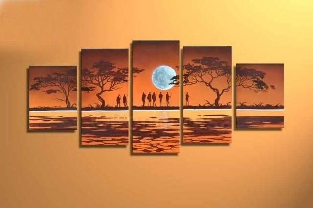 Moon shining people - Direct Art Australia. Price: $389.00,  Shipping: Free Shipping,  Size of Parts: 35cm x 50cm x 2 panels + 35cm x 70cm x 2 panel + 35cm x 80cm x 1 panel,  Total Size (W x H): 175cm x 80cm,  Delivery: 14 - 21 Days,  Framing: Framed & Ready to Hang!  100% Oil Painting on Canvas!  100% Money Back Guarantee,  Delivery Australia Wide!  http://www.directartaustralia.com.au/