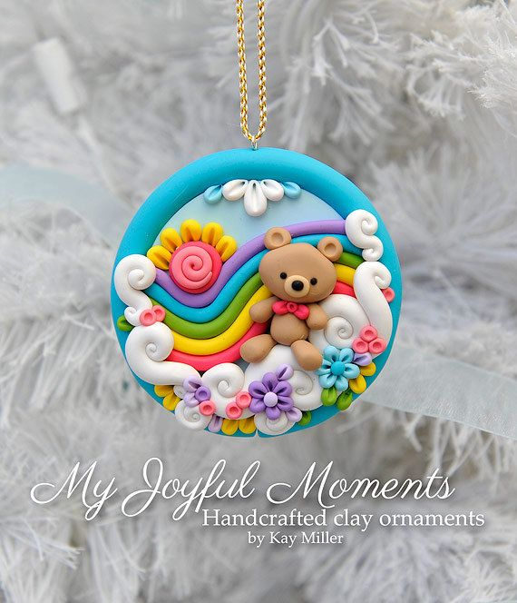 Handcrafted Polymer Clay Rainbow Bear Scene by MyJoyfulMoments