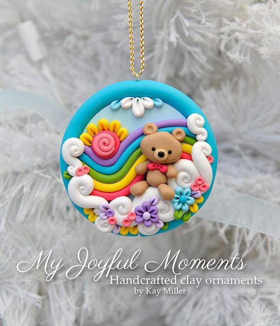 Handcrafted Polymer Clay Rainbow Bear Scene Ornament