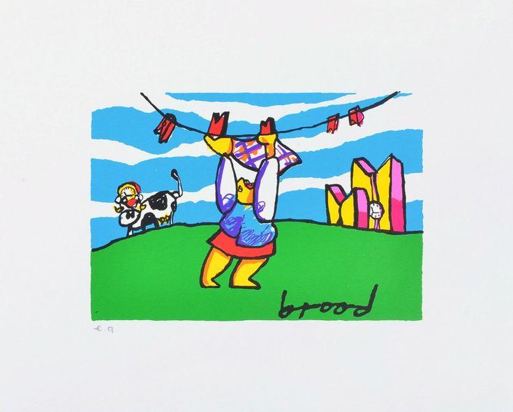 Dit is een: Zeefdruk sign. in druk, titel: 'Wasdag' kunstwerk vervaardigd door: Herman Brood