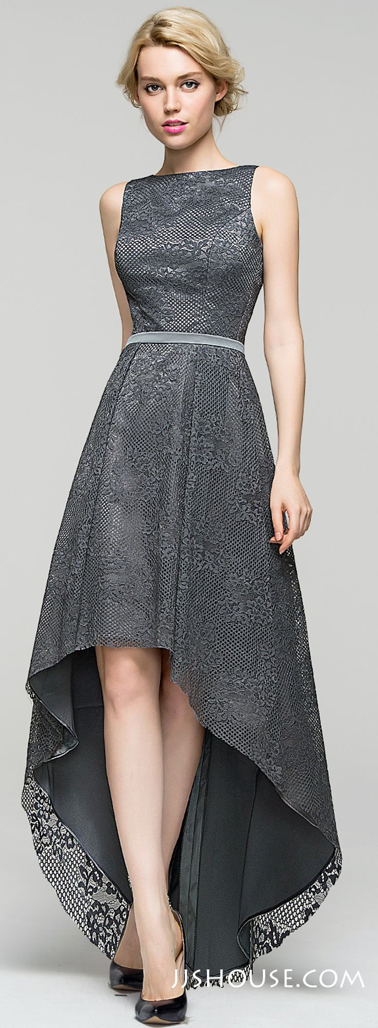 Stylishly chic, this  A-Line Scoop Neck Asymmetrical Lace Evening dress is fit for only the trendiest women. #JJsHouse