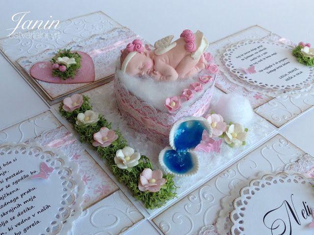 """Janin ustvarjalni vrt                                       : Škatlica presenečenja ob krstu """"Dojenčica angel"""""""
