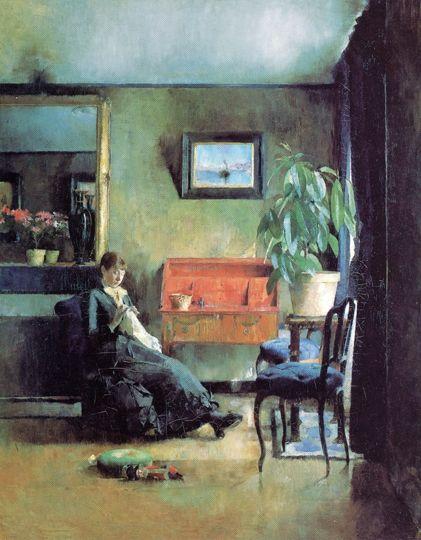 Harriet Backer - Blue Interior, Paris 1883