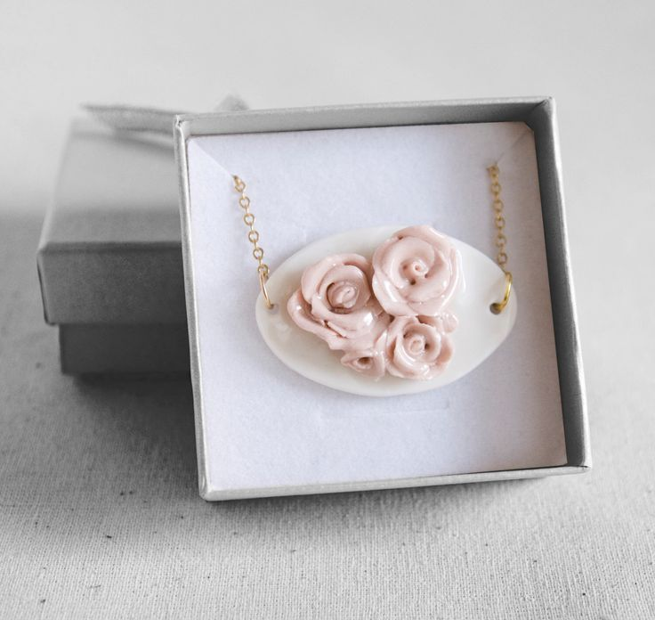 Porcelain necklace - rose necklace, hand made rose ornament pendant, porcelain jewelry, bridal necklace, wedding jewelry by jewelryfromimka on Etsy https://www.etsy.com/listing/166314185/porcelain-necklace-rose-necklace-hand