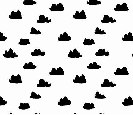 Changing Pad Cover - Black Clouds