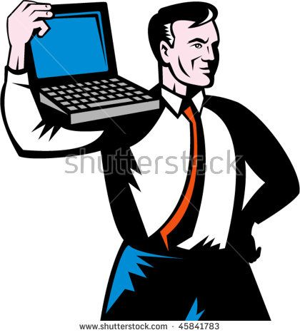 vector illustration of a Man carrying computer notebook laptop on his shoulders.  #laptop #retro #illustration