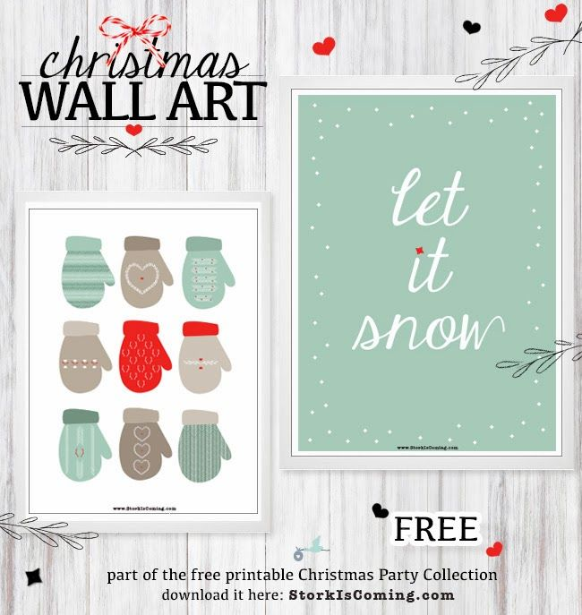 the Stork is Coming: Free Christmas wall art prints for you
