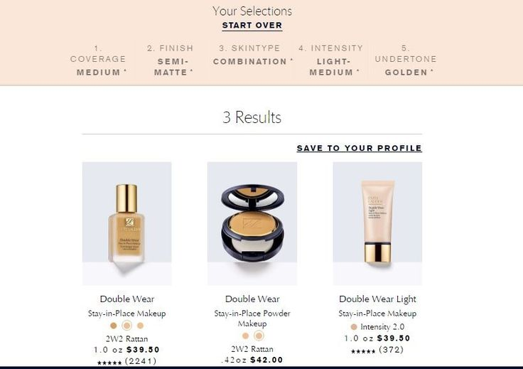 Estee Lauder Double Wear foundation shade finder