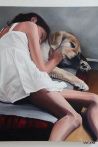 """Girl's Best friend"" - oil on canvas copyright 2012 Mia Laing 30x40inch #oilpainting #art #painting #figurativenarrativepainting #goldenretriever #childreninart #dogsinart"