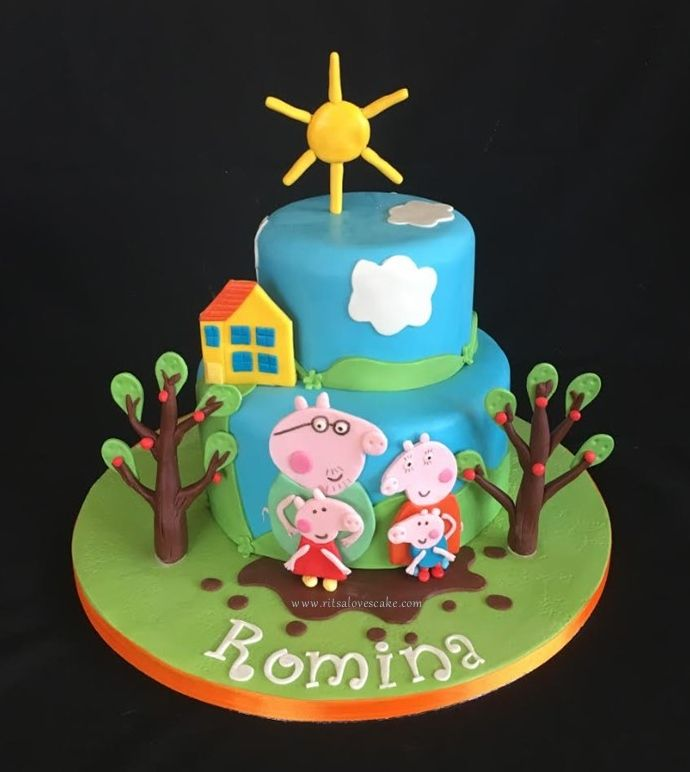 Pegga Pig and family cake