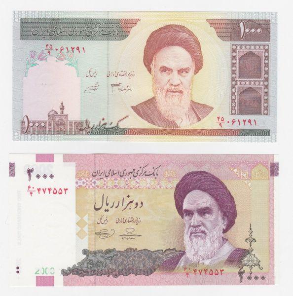 Iran 2 cédulas de 1000 e 2000 rials retratando o Aiatolá Khomeini, em estado flor de estampa.