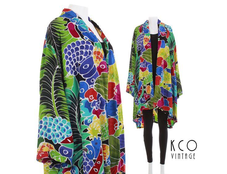 80s Colorful Rayon Kimono Duster Jacket Novelty Tropical Fruit Print Summer Retro Vintage Clothing Women's Plus Size 3X OSFA by KCOVINTAGE on Etsy