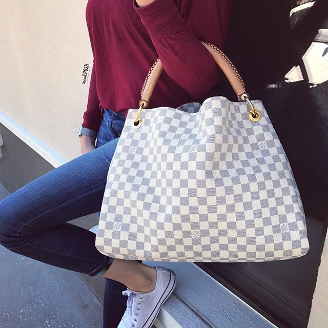 Louis Vuitton Damier Azur Artsy MM just in!! Call us at 813-258-8800 or email us at customerservice@mymoshposh.com if you would like to purchase before it goes online!