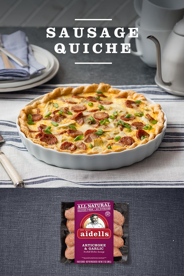 An #Aidellatarian favorite, this savory Aidells Artichoke & Garlic quiche is perfect for breakfast lunch or dinner.   Visit the link to see the full Artichoke & Garlic Quiche recipe, or find your #perfectfusions of flavor in a variety of Aidells meatballs and dinner sausage at Aidells.com.