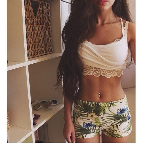 • hair girl tan shorts fitspo skinny thin body brunette outfit thinspo long hair stomach fit abs tummy flat tummy belly button piercing summer outfits skinnyfitgorgeous •