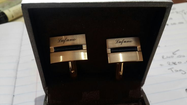 Laser engraving onto cuff links