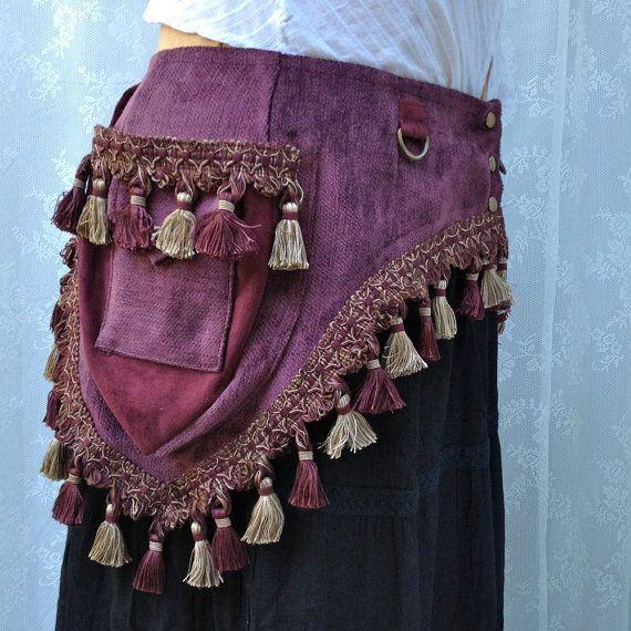 Purple+chenille+tassel+belt++plus+size+tribal+by+bluemoonkatherine,+$160.00