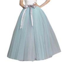 Nieuwe Trendy Mix Kleur Hemelsblauw Met Grijze Kleur Tule Rokken voor Vrouwen Met Lint Sash Boog Lange Tutu Rok Vrouwen Kleding(China)